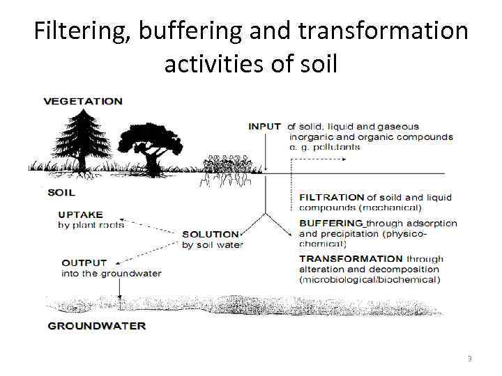 Filtering, buffering and transformation activities of soil 3