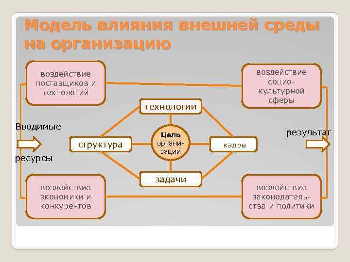 Модель влияния внешней среды на организацию воздействие поставщиков и технологий технологии Вводимые структура ресурсы