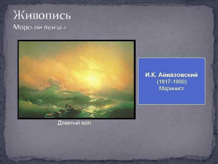 Живопись Морской пейзаж И. К. Айвазовский (1817 -1900) Маринист Девятый вал
