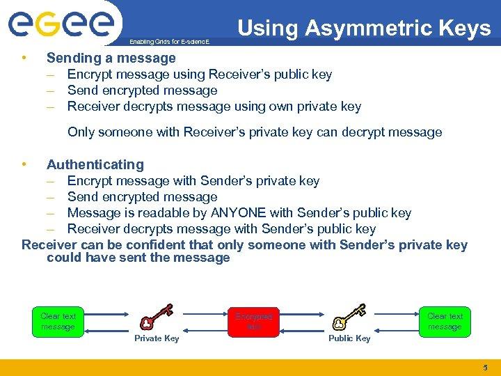 Enabling Grids for E-scienc. E • Using Asymmetric Keys Sending a message – Encrypt