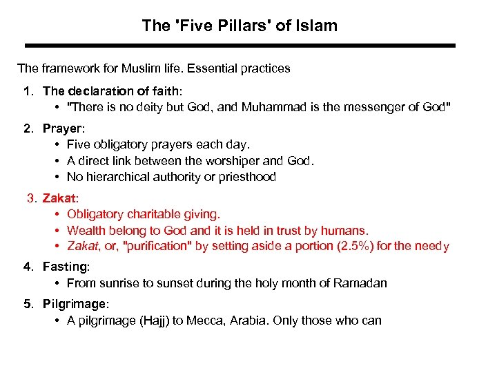 The 'Five Pillars' of Islam The framework for Muslim life. Essential practices 1. The