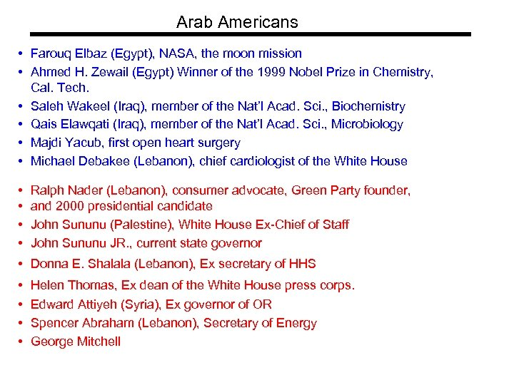 Arab Americans • Farouq Elbaz (Egypt), NASA, the moon mission • Ahmed H. Zewail