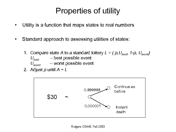 Properties of utility • Utility is a function that maps states to real numbers