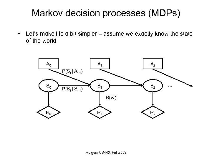 Markov decision processes (MDPs) • Let's make life a bit simpler – assume we