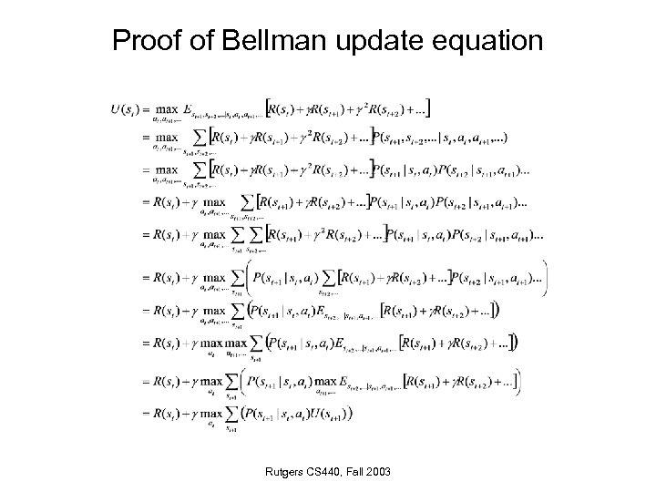 Proof of Bellman update equation Rutgers CS 440, Fall 2003