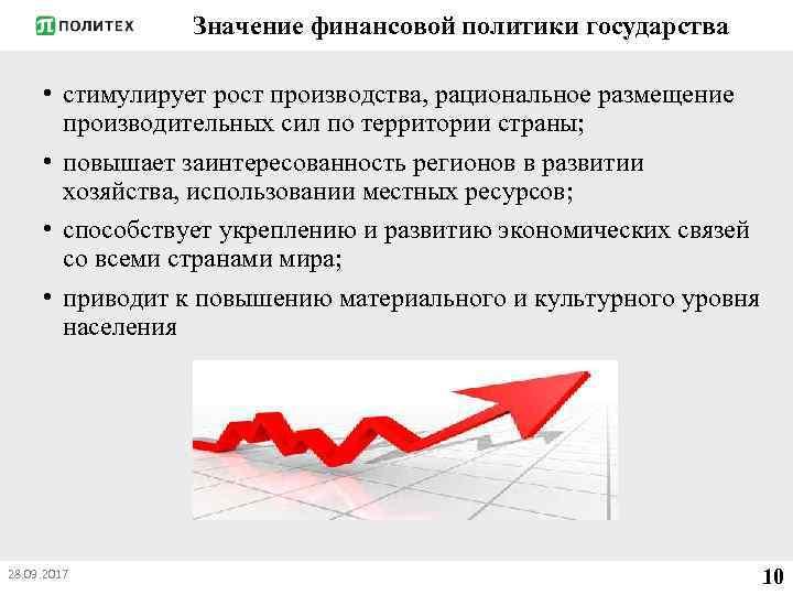 Значение финансовой политики государства • стимулирует рост производства, рациональное размещение производительных сил по территории