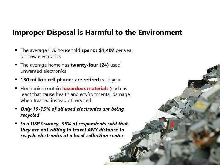 Improper Disposal is Harmful to the Environment § The average U. S. household spends