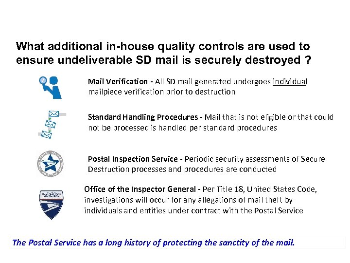 What additional in-house quality controls are used to ensure undeliverable SD mail is securely