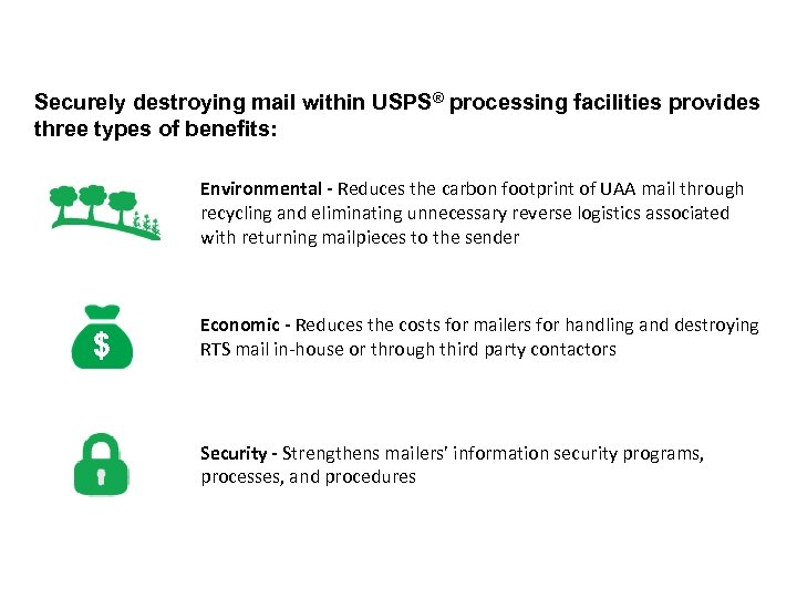 Securely destroying mail within USPS® processing facilities provides three types of benefits: Environmental -