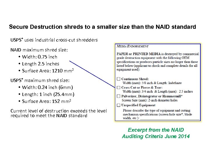 Secure Destruction shreds to a smaller size than the NAID standard USPS® uses industrial