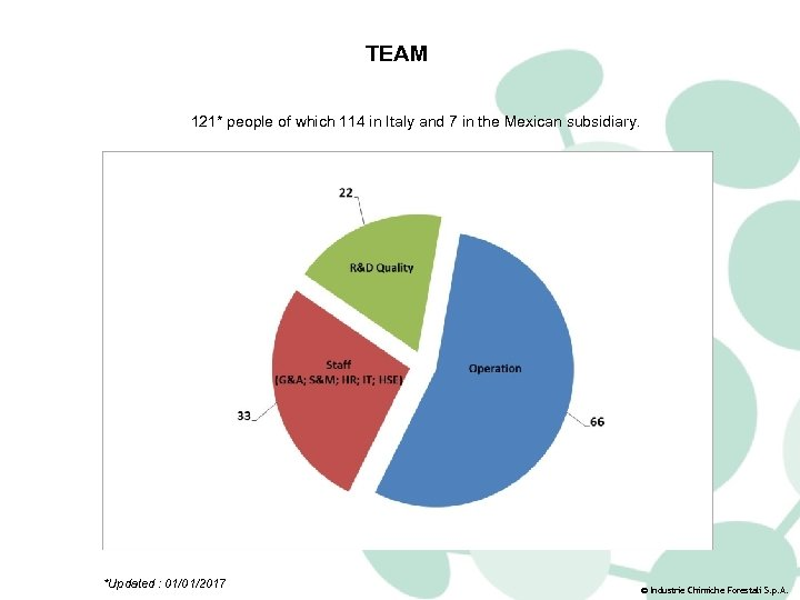 TEAM 121* people of which 114 in Italy and 7 in the Mexican subsidiary.