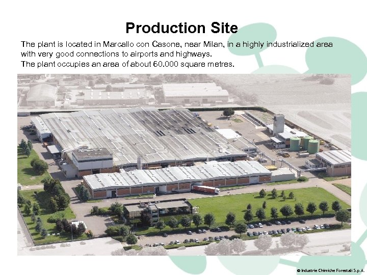 Production Site The plant is located in Marcallo con Casone, near Milan, in a