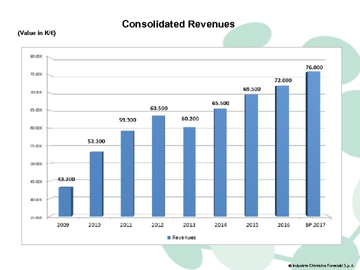 (Value in K/€) Consolidated Revenues © Industrie Chimiche Forestali S. p. A.