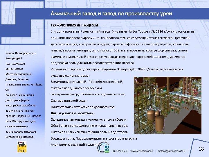 Аммиачный завод и завод по производству уреи ТЕХНОЛОГИЧЕСКИЕ ПРОЦЕССЫ 1 укомплектованный аммиачный завод (лицензия