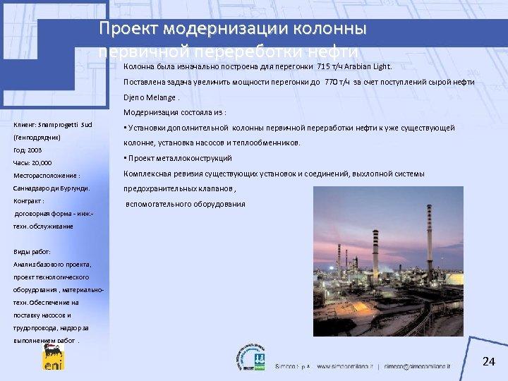 Проект модернизации колонны первичной перереботки нефти Колонна была изначально построена для перегонки 715 т/ч
