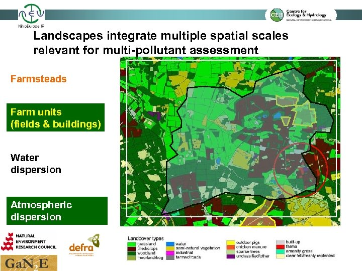 Landscapes integrate multiple spatial scales relevant for multi-pollutant assessment Farmsteads Farm units (fields &