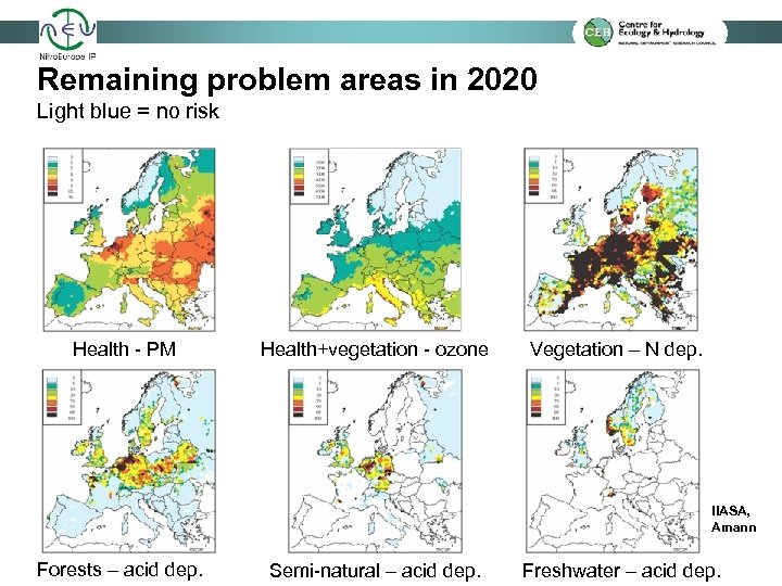 Remaining problem areas in 2020 Light blue = no risk Health - PM Health+vegetation