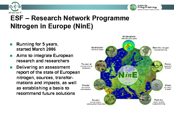 ESF – Research Network Programme Nitrogen in Europe (Nin. E) n n n Running