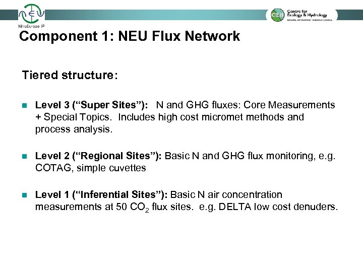 "Component 1: NEU Flux Network Tiered structure: n Level 3 (""Super Sites""): N and"
