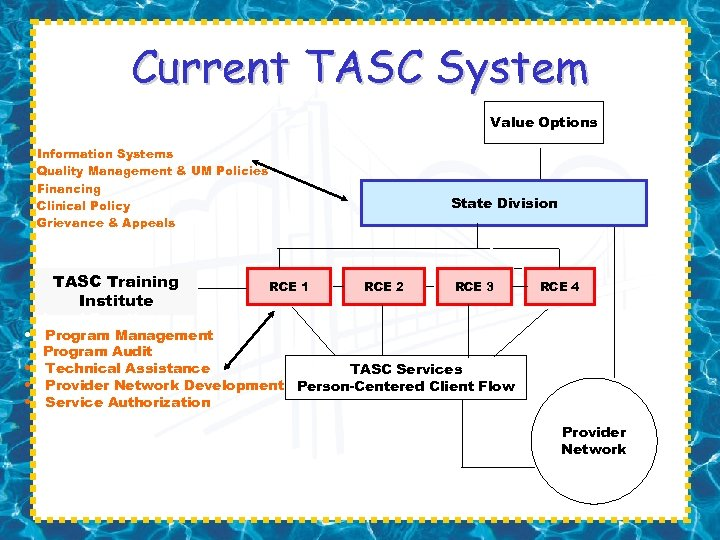 Current TASC System Value Options Standard Functions: Information Systems Quality Management & UM Policies