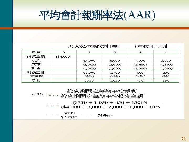 平均會計報酬率法(AAR) 24