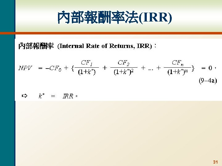 內部報酬率法(IRR) 31