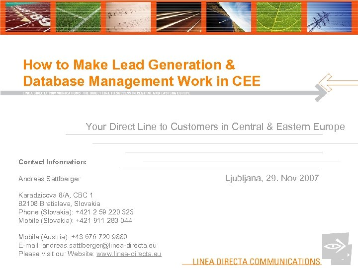 How to Make Lead Generation & Database Management Work in CEE Your Direct Line