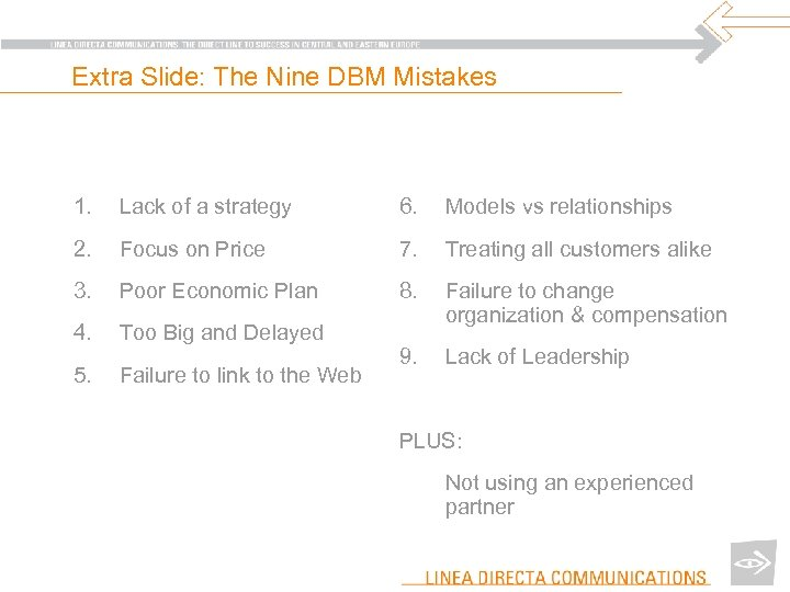 Extra Slide: The Nine DBM Mistakes 1. Lack of a strategy 6. Models vs
