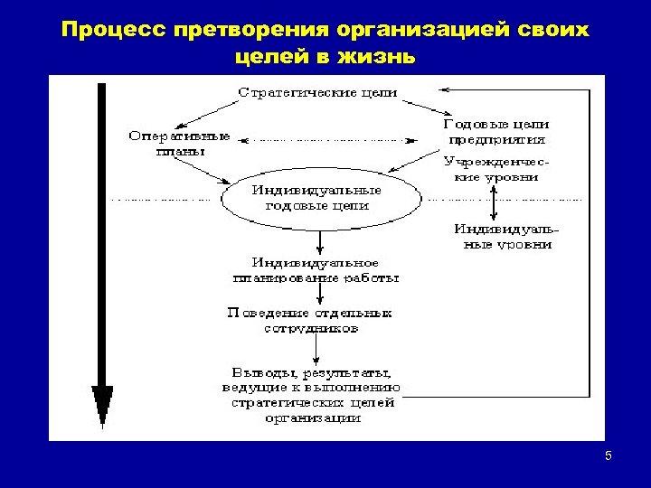 Процесс претворения организацией своих целей в жизнь 5