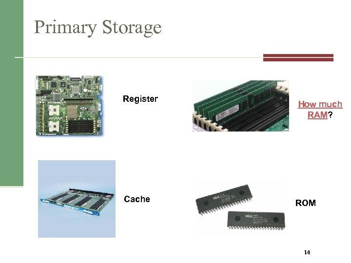 Primary Storage Register Cache How much RAM? ROM 14