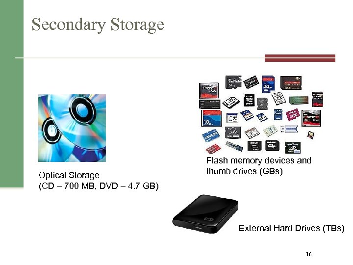 Secondary Storage Optical Storage (CD – 700 MB, DVD – 4. 7 GB) Flash