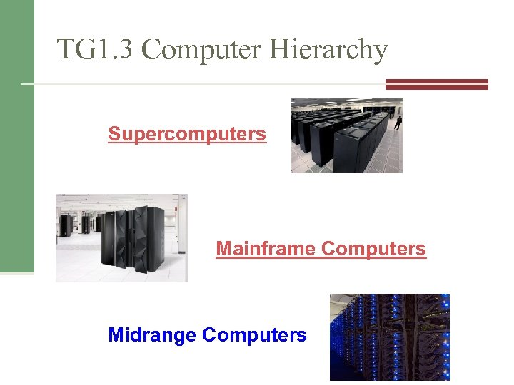 TG 1. 3 Computer Hierarchy Supercomputers Mainframe Computers Midrange Computers