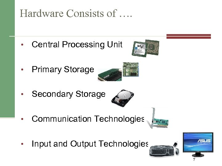 Hardware Consists of …. • Central Processing Unit • Primary Storage • Secondary Storage