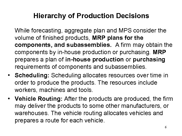 Hierarchy of Production Decisions While forecasting, aggregate plan and MPS consider the volume of