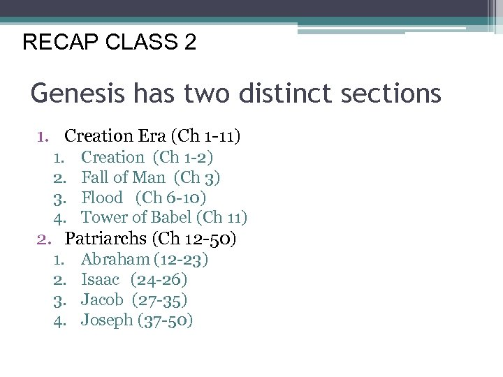 Fresh Look at the Old Testament Class 3