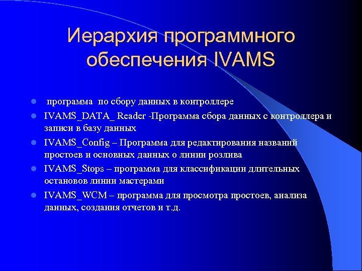 Иерархия программного обеспечения IVAMS l l l программа по сбору данных в контроллере IVAMS_DATA_