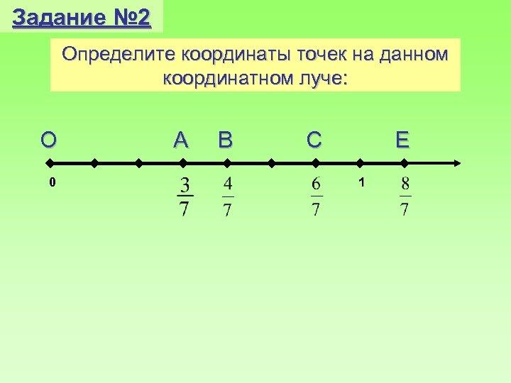 Задание № 2 Определите координаты точек на данном координатном луче: О 0 А В
