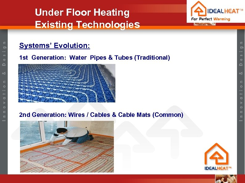 Under Floor Heating Existing Technologies Systems' Evolution: 1 st Generation: Water Pipes & Tubes