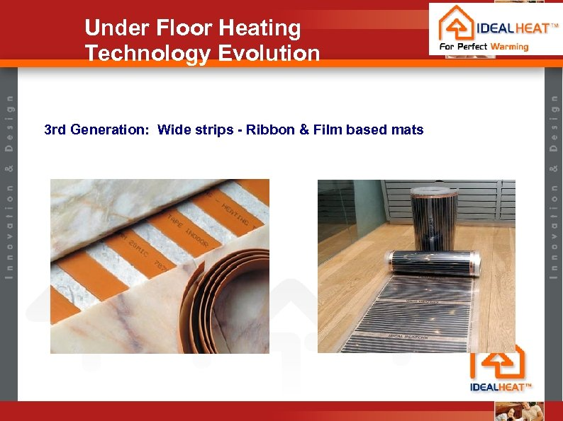 Under Floor Heating Technology Evolution 3 rd Generation: Wide strips - Ribbon & Film