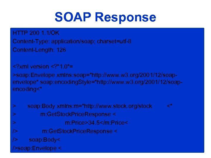SOAP Response HTTP 200 1. 1/OK Content-Type: application/soap; charset=utf-8 Content-Length: 126 <? xml version