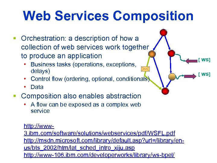 Web Services Composition § Orchestration: a description of how a collection of web services