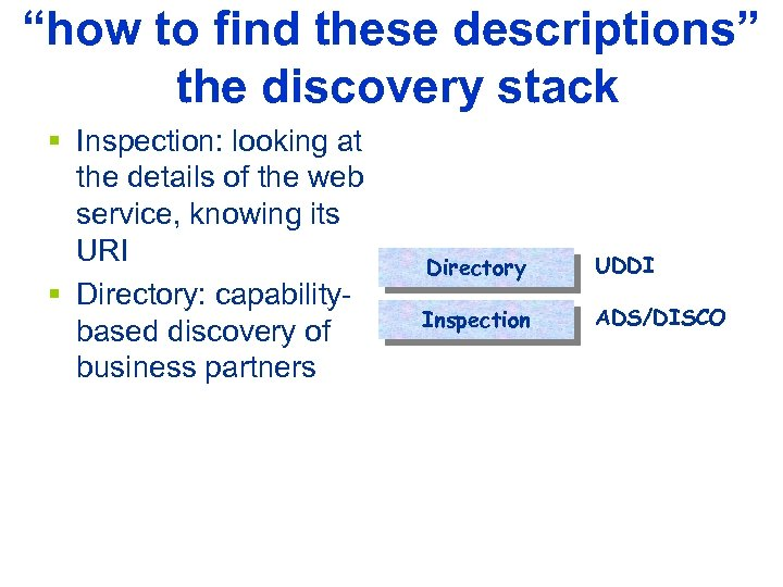 """how to find these descriptions"" the discovery stack § Inspection: looking at the details"