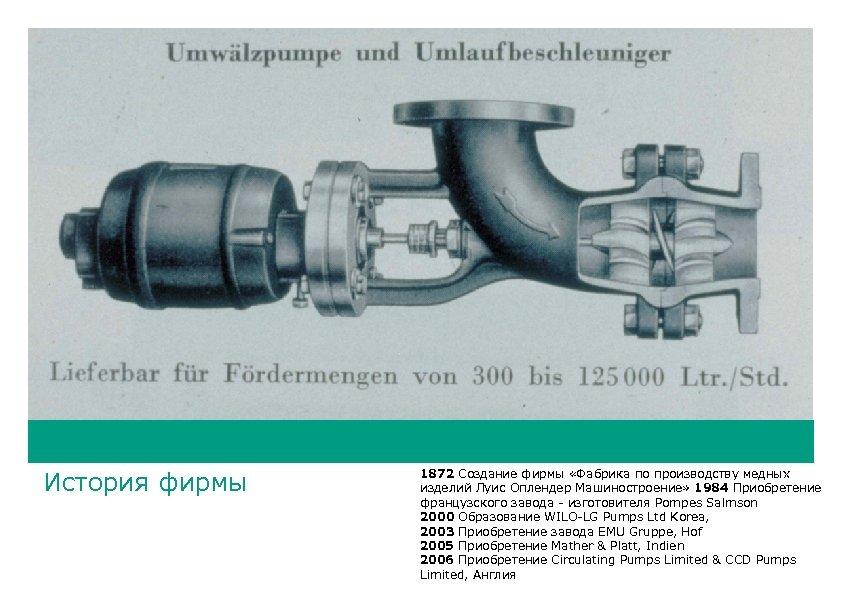 История фирмы 1872 Создание фирмы «Фабрика по производству медных изделий Луис Оплендер Машиностроение» 1984