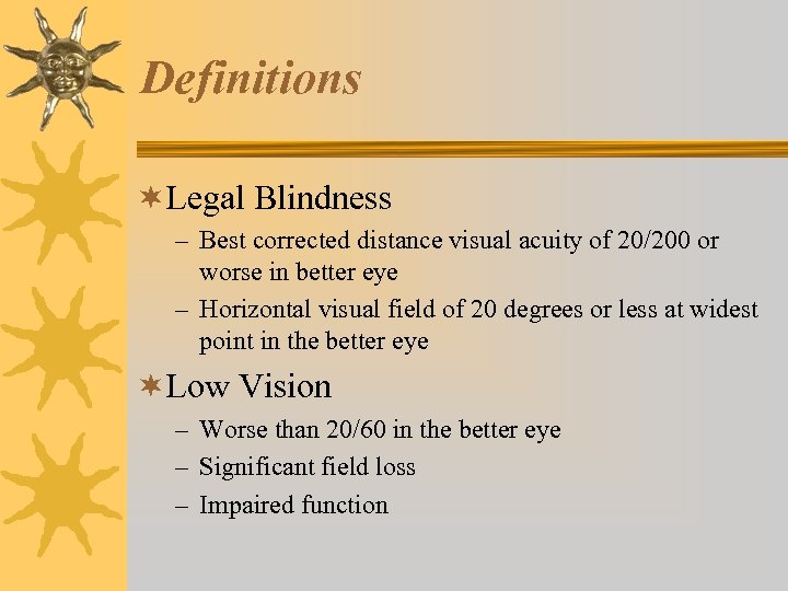 Definitions ¬Legal Blindness – Best corrected distance visual acuity of 20/200 or worse in