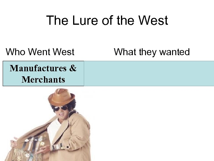 The Lure of the West Who Went West What they wanted Manufactures & Merchants
