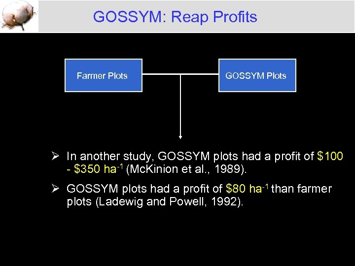 GOSSYM: Reap Profits Farmer Plots GOSSYM Plots Ø In another study, GOSSYM plots had