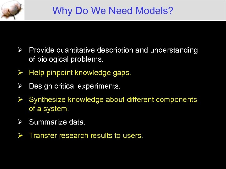 Why Do We Need Models? Ø Provide quantitative description and understanding of biological problems.
