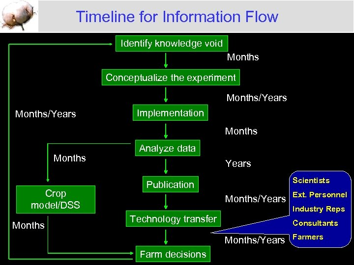 Timeline for Information Flow Identify knowledge void Months Conceptualize the experiment Months/Years Implementation Months