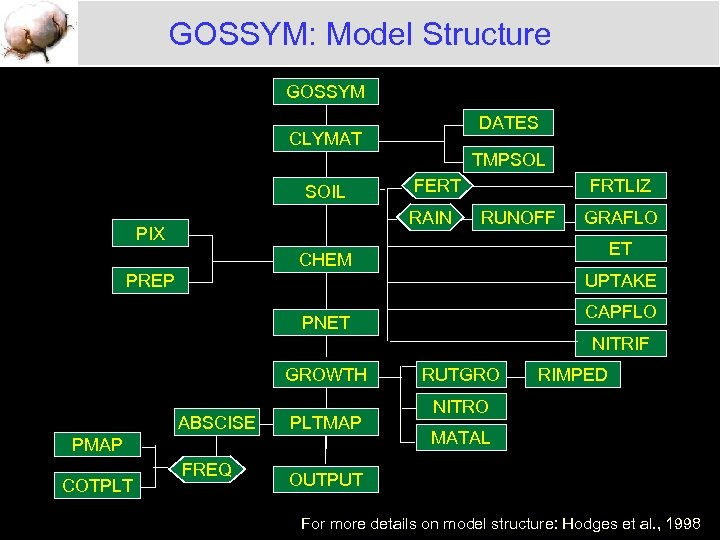 GOSSYM: Model Structure GOSSYM DATES CLYMAT TMPSOL SOIL FERT RAIN PIX FRTLIZ RUNOFF GRAFLO