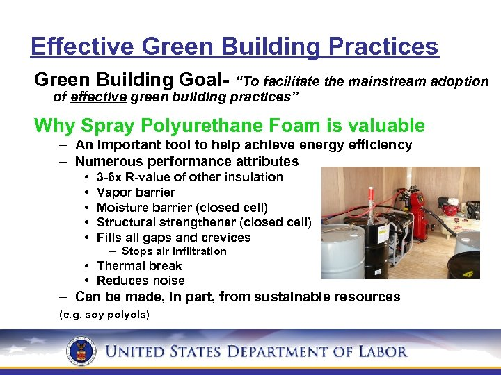 """Effective Green Building Practices Green Building Goal- """"To facilitate the mainstream adoption of effective"""